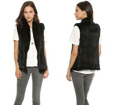 100% Real Genuine Casual Thick Vests Knitted Rabbit Fur Gilet Waistcoat Women