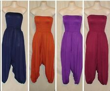 Viscose Rayon Blend Stretch Harem Pants Smocked Waist