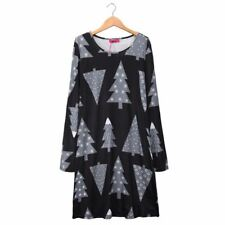 Women Autumn Winter Black Color Printing Long Sleeve O-Neck Short Tunic Dress