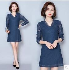 Black Blue Color Long Sleeve Lace V Neck Slim Patchwork Mesh Dress for Women