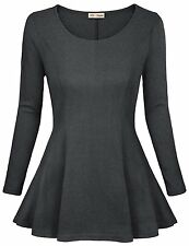 Timeson Womens Comfy Loose Fit Trapeze Tunic Top with Scoop Neck