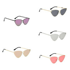 Women Retro Metal Frame Mirror Sunglasses Cat Eye Glasses Eyewear Designer