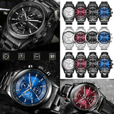 Mens Fashion Stainless Steel Analog Sport Business Wristwatch Waterproof Watch