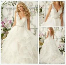 New White Ivory Appliques V-neck Tiered Wedding Dress 2 4 6 8 10 12 14 16 18 KEH