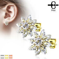 PAIR of Marquise CZ Flower 316L Surgical Steel Post 20g Earrings Studs