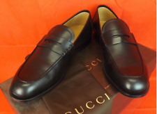 GUCCI 368456 Mens Leather Patmos Black Interlocking Dress Loafer Shoes  $678 New