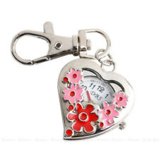 CO_ Heart Shape Quartz Watch Flowers Pocket Watches Stainless Steel Key Ring Mag