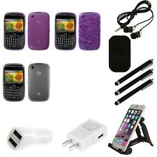 For BlackBerry Curve 8530 / 8520 TPU Rubber Skin Flexible Case Phone Cover Combo