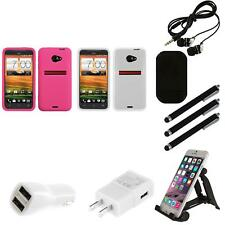 For HTC EVO 4G LTE Silicone Skin Rubber Soft Case Phone Cover Combo