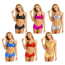 Womens Wet Look Bikini Set Sexy Lingerie Bra Top Bottoms Swimwear party Clubwear