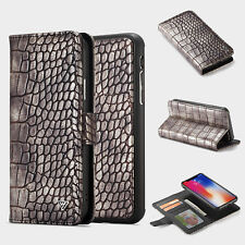 For Samsung S9 S9+/iPhone X Luxury Crocodile Shockproof Wallet Flip Case Cover