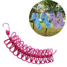 Portable Outdoor Travel Stretch Windproof Camping Clothesline Rope With 12 Clips