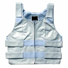 WOMENS BULLET PROOF STYLE WHITE SOFT LEATHER MOTORCYCLE VEST CLOSE OUT SALE- K2K