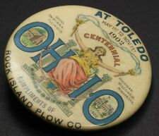 Antique Whitehead & Hoag 1902 Ohio Centennial Rock Island Plow Souvenir Pinback