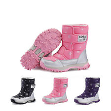 Kids Girls Boys Waterproof Warm Winter Snow Boots with Fur Lined Flat Shoes New