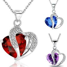 Fashion Women Heart Crystal Rhinestone Silver Chain Pendant Necklace Jewelry HOT