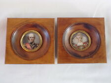 PAIR OF ANTIQUE MINIATURE PORTRAITS PORCELAIN PAINTED COUPLE SIGNED
