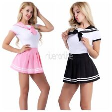 Japanese School Girl Sailor Suit Womens Romper Dress Outfit Csotumes Halloween