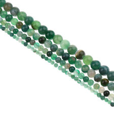 Natural Green Agate Beads Round 4mm-10mm Gemstone Beads Jewelry Making Strand