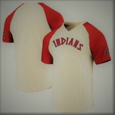 CLEVELAND INDIANS RETRO COOPERSTOWN COLLECTION MAJESTIC RAGLAN V-NECK SHIRT NWT
