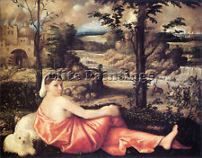 CARIANI RECLINING WOMAN IN A LANDSCAPE ARTIST PAINTING REPRODUCTION HANDMADE OIL