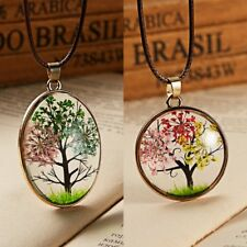 Natural Real Dried Flower Life Tree Pendant Necklace Leather Handmade Jewelry