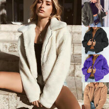 Womens Ladies Warm Artificial Wool Coat Solid Sleeveless Winter Parka Outerwear