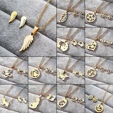 NEW Women Stainless Steel Jewelry Set Gold Pendant Chain Necklace Earrings Gifts