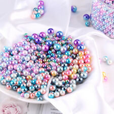 4~10mm Colorful Simulation Pearl Loose Beads No Hole Round Bead Decor Materials