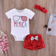 3Pcs Baby Girl Summer Short Sleeve Tops Romper Sequin Pants Outfits Set Clothes
