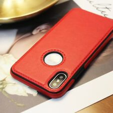 iPhone 6 6s 7 Plus X S9 Plus Ultra-thin Protective Leather Slim Back Case Cover