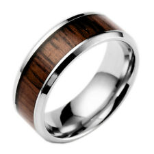 Cool Brown Wood Grain Black Polished Rings Mens Titanium Steel Band Jewelry Gift