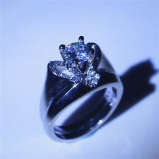 Women  925 Silvering White Sapphire Heart  Ring Set Wedding Jewelry Fashion