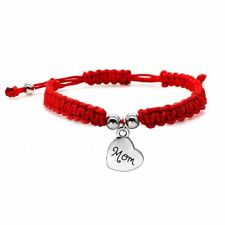 Charm Red Rope Handmade Braided Heart Mom Birthday Gift Bracelet Bangle Jewelry