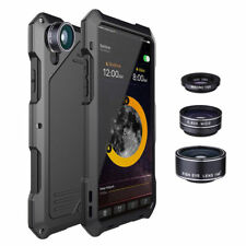 For iPhone X Samsung waterproof +3 Camera Lens Shockproof Metal Case Back Cover