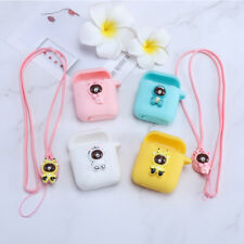 Airpods cover silicone shockproof Cute Case for Apple Airpods Anti-lost Strap