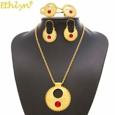 Ethlyn Red Stone Big Ethiopian Gold Plated Handmade Chain Women Gift Jewelry Set
