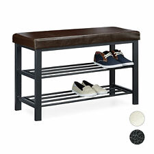 Shoe Bench Padded Storage Bench w/ 2 Shelves Backless Bench for Shoe Storage