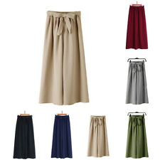 Wide leg pants Ankle Polyester Chiffon Trousers pants One size Elastic waist