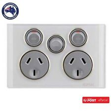 Clipsal Saturn 4025XA Cook Double GPO with Extra 32A Switch Cooker engraved