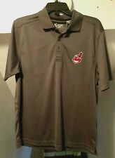 CLEVELAND INDIANS MLB CHIEF WAHOO LOGO CBUK DRYTEC 3-BUTTON GRAY POLO SHIRT NWT