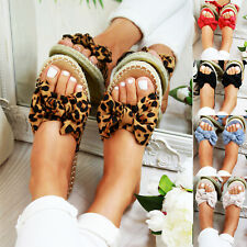Womans Bowknot Flat Espadrille Slip On Sandals Summer Sliders Shoes Sizes US 5-9