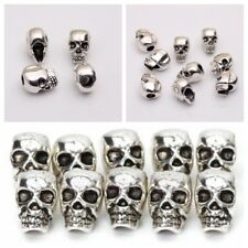 10/20 Silver 4mm Hole Antique Skull Head Spacer Beads Jewelry Bracelet Findings