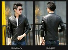 Fashion Mens PU Leather Stand Collar Jacket Slim Fit Jacket Top Coat Outwear
