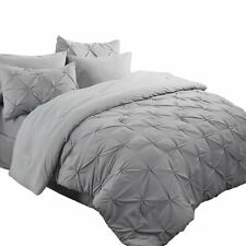 Bedsure 8 Piece Pinch Pleat Down Alternative Comforter Set Queen Size (88X88 inc