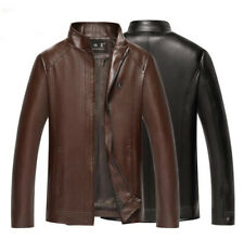New Mens Leather Stand Collar Jacket Slim Fit casual Jacket Top Coat Outwear
