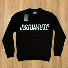 Men's DSQUARED2 Printed Logo Sweatshirt, Pullover in Black, Crew Neck, See Sizes