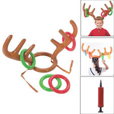 Inflatable Reindeer Christmas Hat Antler Ring Toss Game Kids Toys+Cylinder AN