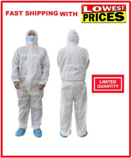 White Hazmat Coverall Protection Disposable Anti-VIRUS Medical Safety Blue Suits