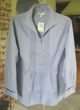 Coldwater Creek Textured Pintucked French Cuffed Blouse
